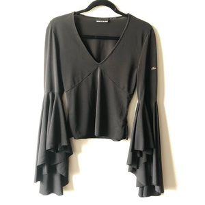 DKNY Jeans Black Bell Sleeve V-neck Top